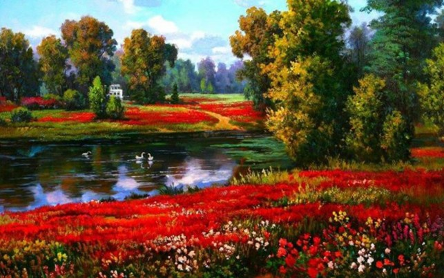 Trees Red Flowers River Ducks wallpapers and stock photos