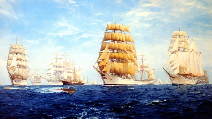 Blue Ocean Sail Ships Parade wallpapers and stock photos