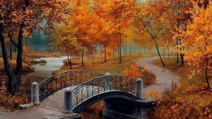 Orange Trees River Bridge Path wallpapers and stock photos