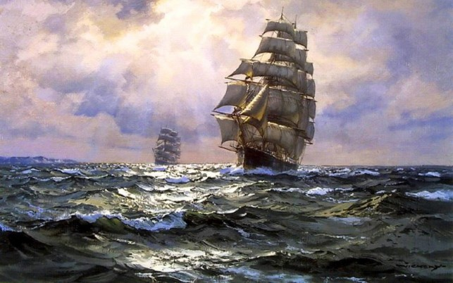 Ocean Sail Ships Purple Sky wallpapers and stock photos