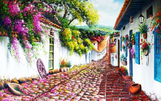 Wonderful Village Street wallpapers and stock photos