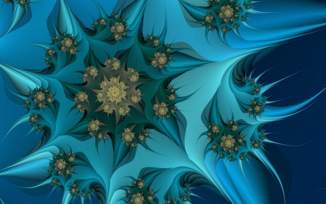 Green & Blue Fractal Flower wallpapers and stock photos