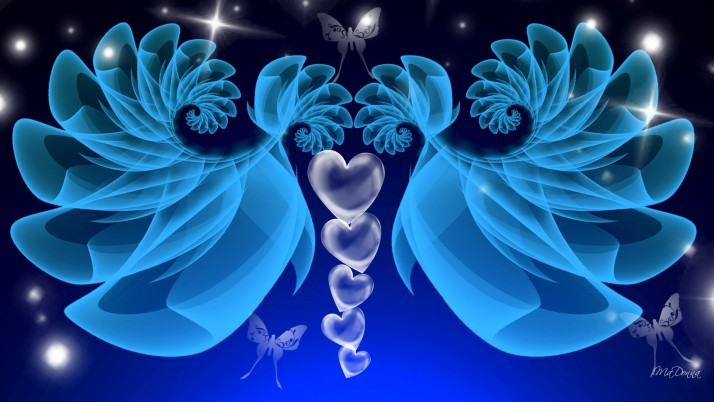 Blue Fractal Wings wallpapers and stock photos