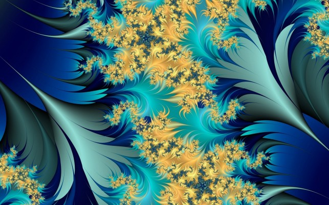Yellow & Blue Leaves Fractal wallpapers and stock photos
