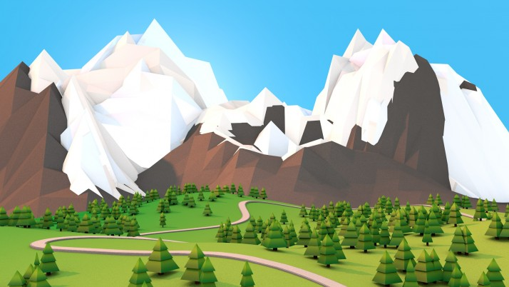 Polygon Mountains wallpapers and stock photos