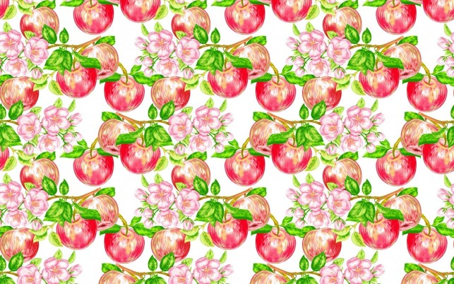 Apples & Blossoms Pattern wallpapers and stock photos