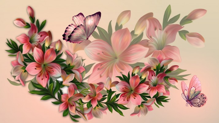 Pink Floral & Butterflies wallpapers and stock photos