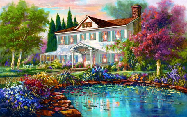 Mansion Pond wallpapers and stock photos