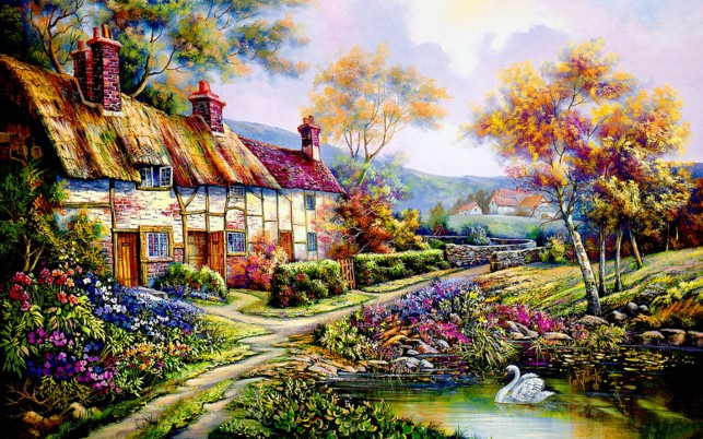 Countryside Cottage wallpapers and stock photos