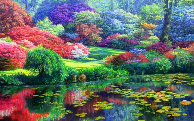 Colorful Trees & Lily Pond wallpapers and stock photos