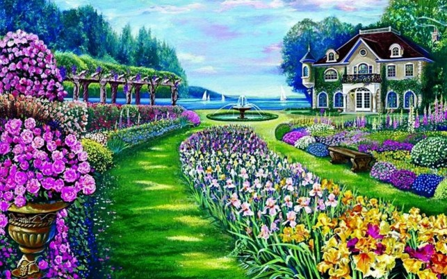 Random: Beautiful Garden Mansion Lake