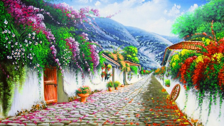 Vivid Flowers Cobblestone Hill wallpapers and stock photos
