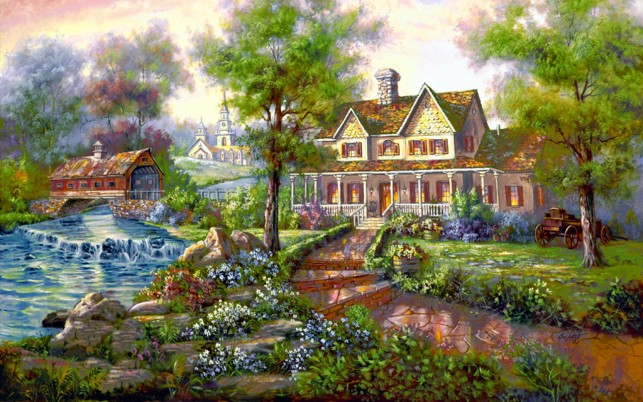 Village Mansion wallpapers and stock photos