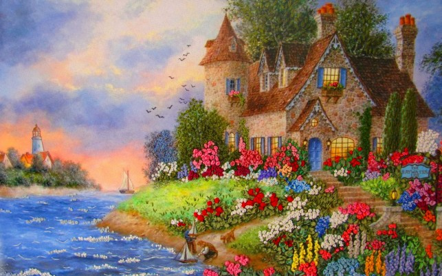 Roses Cottage Insula wallpapers and stock photos
