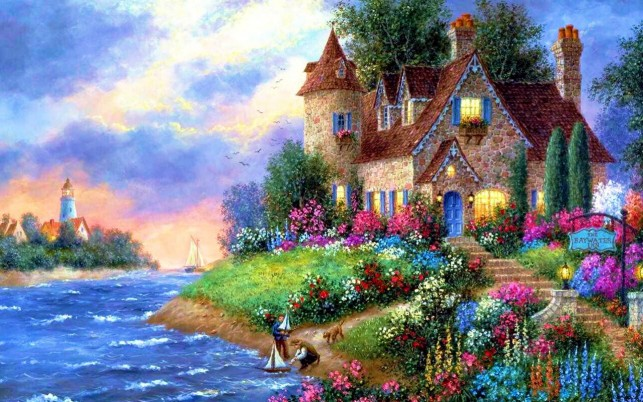 Island Cottage wallpapers and stock photos