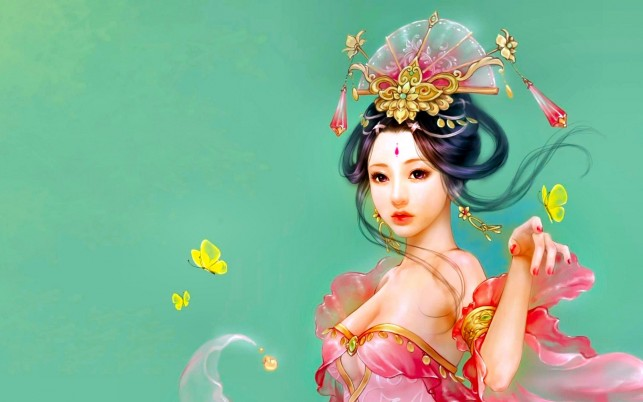 Asian Pink Dress Butterflies wallpapers and stock photos