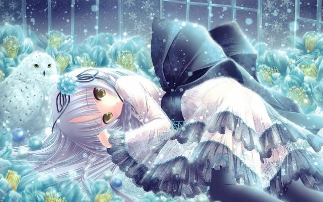 Random: Cute Girl & Snowy Owl