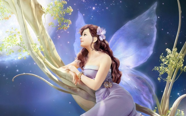 Woman Fairy Lilac Dress Dreamy wallpapers and stock photos