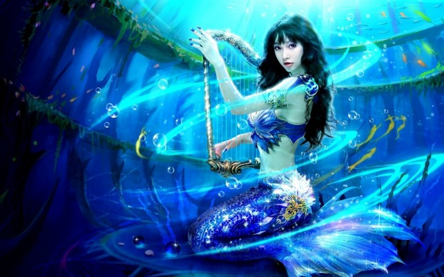 Mermaid Black Hair Jewel Harp wallpapers and stock photos