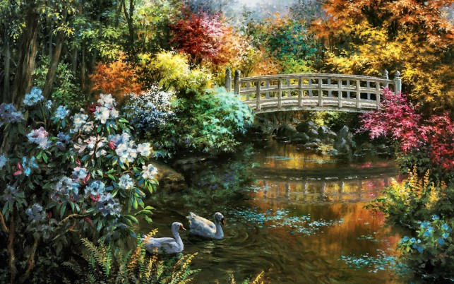 Random: Calico Trees Bridge Pond Swans