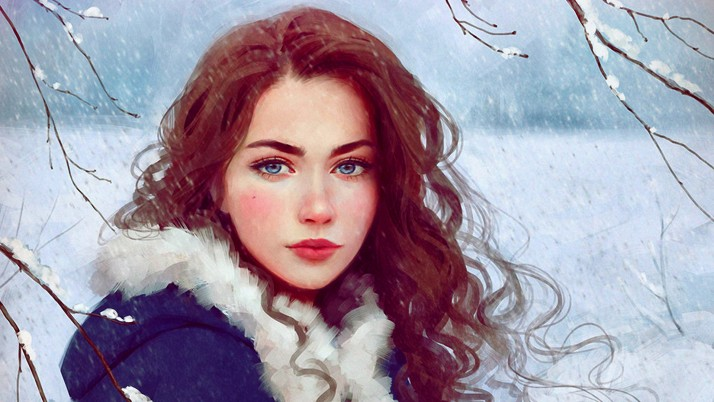 Woman Brunette Snow Storm wallpapers and stock photos
