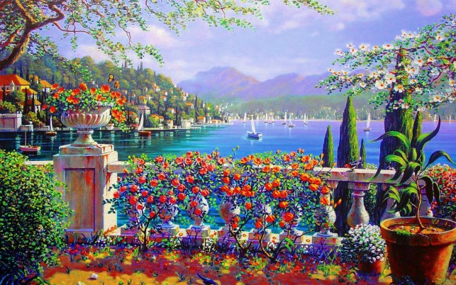 Vivid Terrace Bellagio Italy wallpapers and stock photos