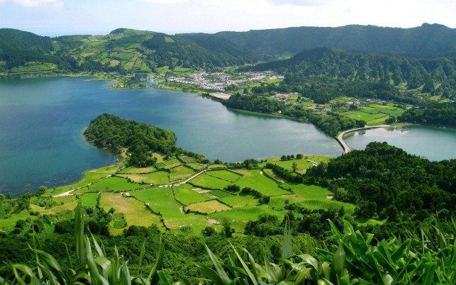 Splendid Azores Aerial View wallpapers and stock photos