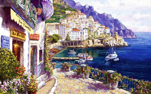 Pretty Amalfi Coast Italy wallpapers and stock photos