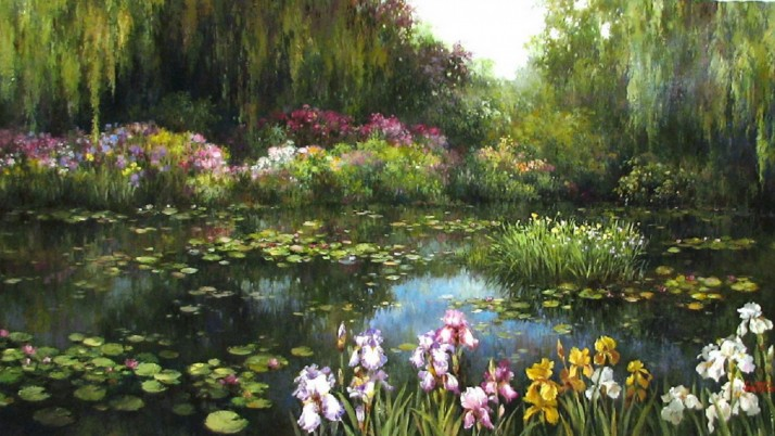 Willow Nice Lily Pond Iris wallpapers and stock photos