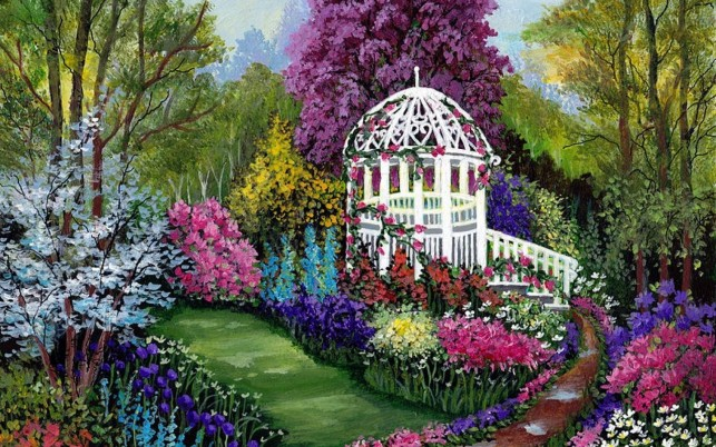 Beautiful Flowers Way Gazebo wallpapers and stock photos