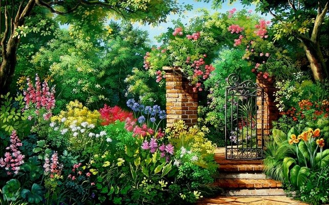 Charming Flowers & Garden Gate wallpapers and stock photos
