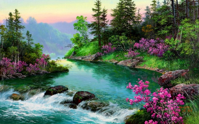 Trees Aqua River Rocks Flowers wallpapers and stock photos