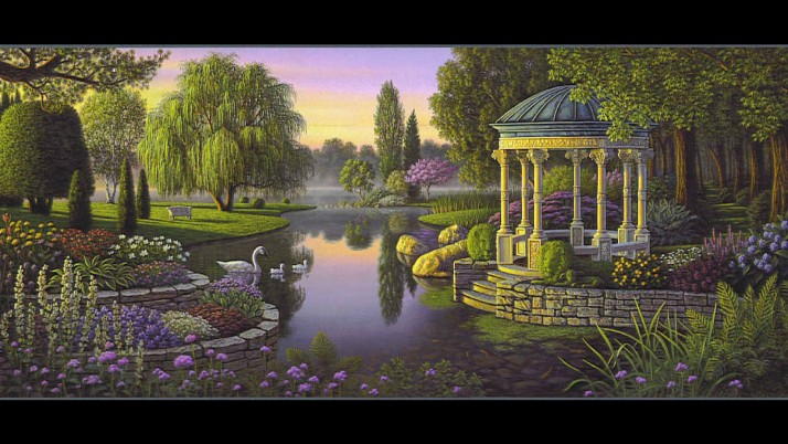 Trees Pond Swans Gazebo Plants wallpapers and stock photos