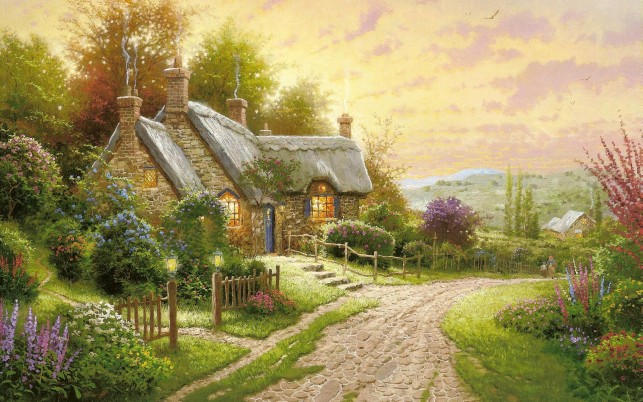 Cottage Garden People Walk Way wallpapers and stock photos