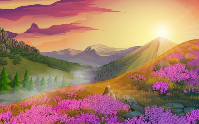 Peaks Trees Pink Flowers Dawn wallpapers and stock photos