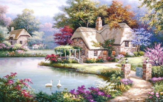 Cottage Way Garden Pond Swans wallpapers and stock photos