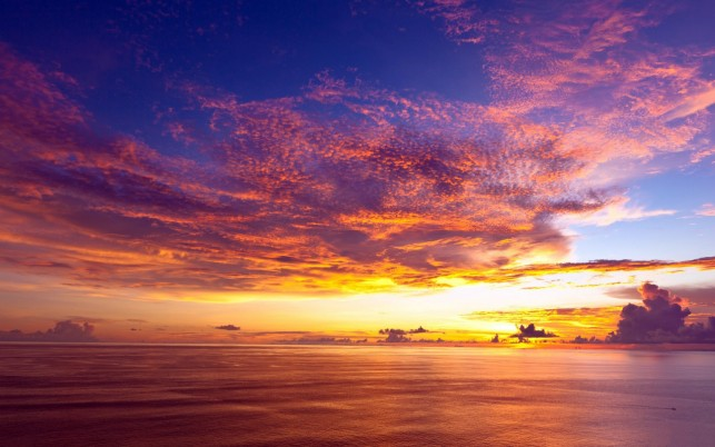 Ocean Pink Cloud Golden Sunset wallpapers and stock photos