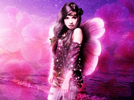 Woman Fairy Ocean Pink Sky wallpapers and stock photos