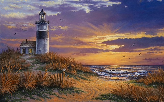 Ocean Light House Purple Sky wallpapers and stock photos