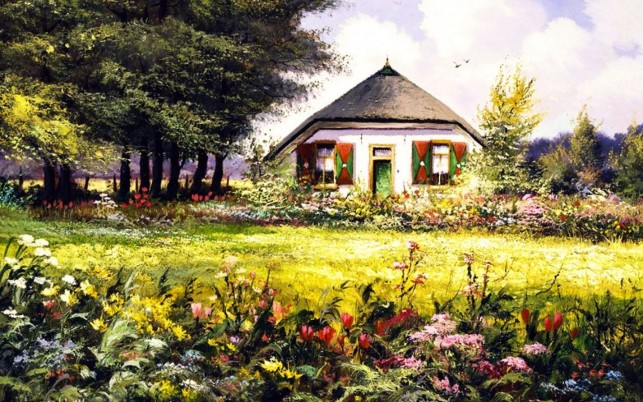 Country Home & Pretty Garden wallpapers and stock photos