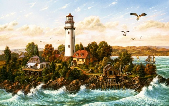 Ocean Light House Birds Scenic wallpapers and stock photos