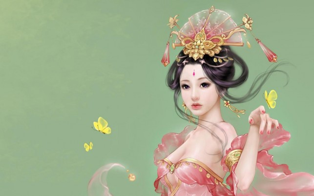 Random: Asian Pink Dress Butterflies