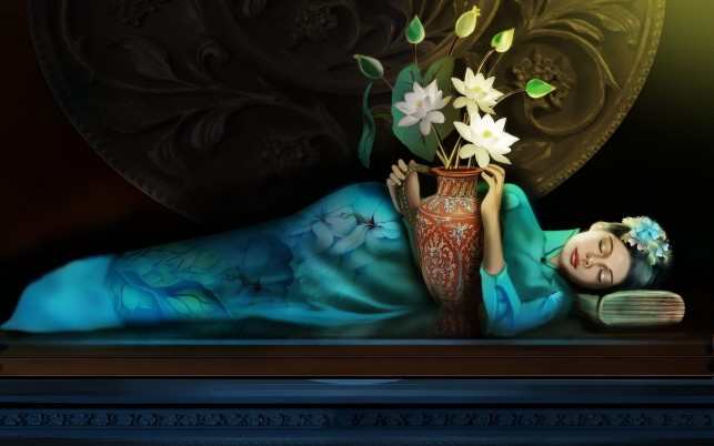 Woman Sleeping Vase Flowers wallpapers and stock photos