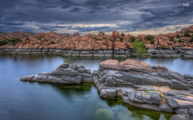Stunning Rocks Stream Clouds wallpapers and stock photos