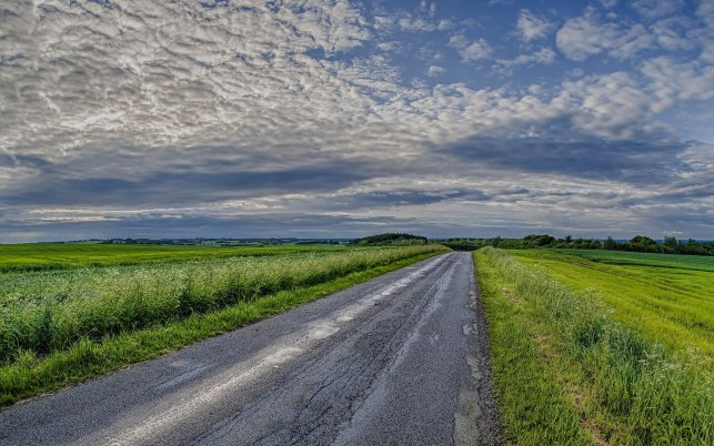 Charming Pasture Road Clouds wallpapers and stock photos
