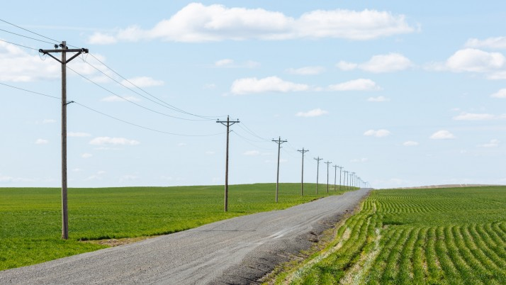 Fields Road Pole Clouds Sky wallpapers and stock photos