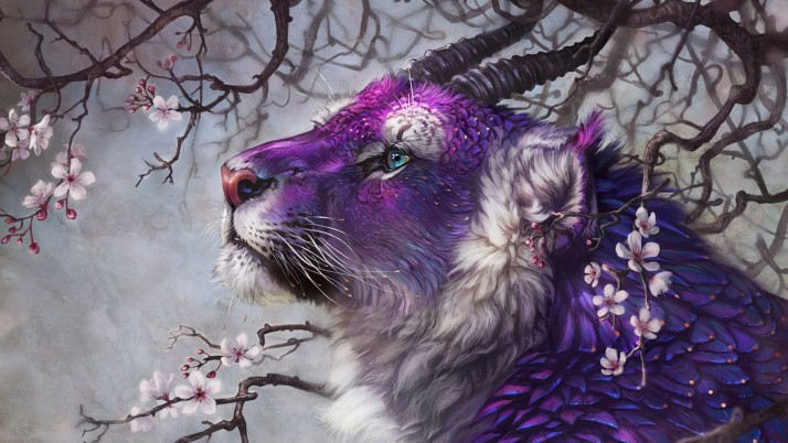 Purple Fantasy Lion wallpapers and stock photos