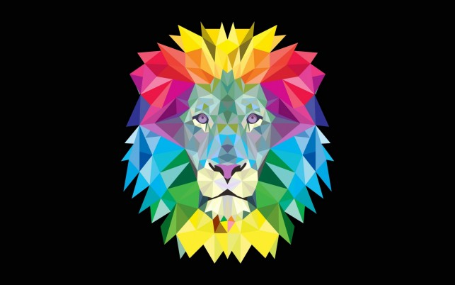 Colorful Geometric Lion wallpapers and stock photos