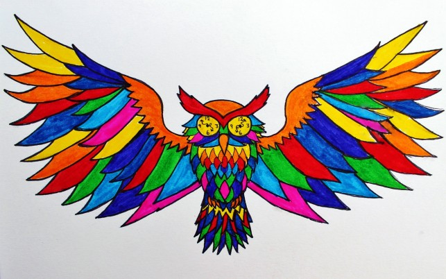 Rainbow Owl wallpapers and stock photos
