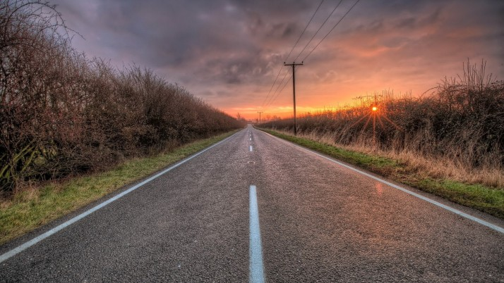 Lovely Road Hedges Pole Sunset wallpapers and stock photos